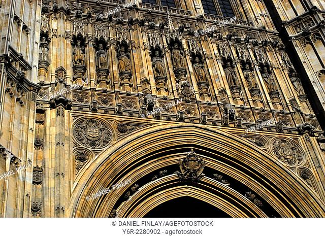Detail of facade of the House of Lords in the Palace of Westminster, in London, England, on a sunny Summer day