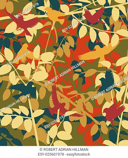 Editable vector illustration of small birds in vegetation