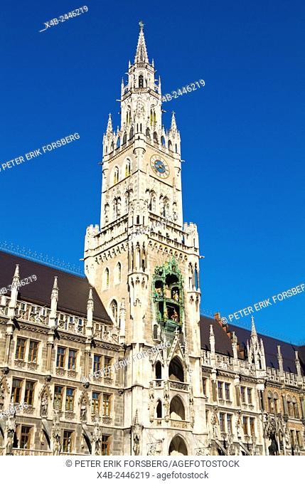 Tower of Neues Rathaus, Marienplatz, old town, Munich, Bavaria, Germany