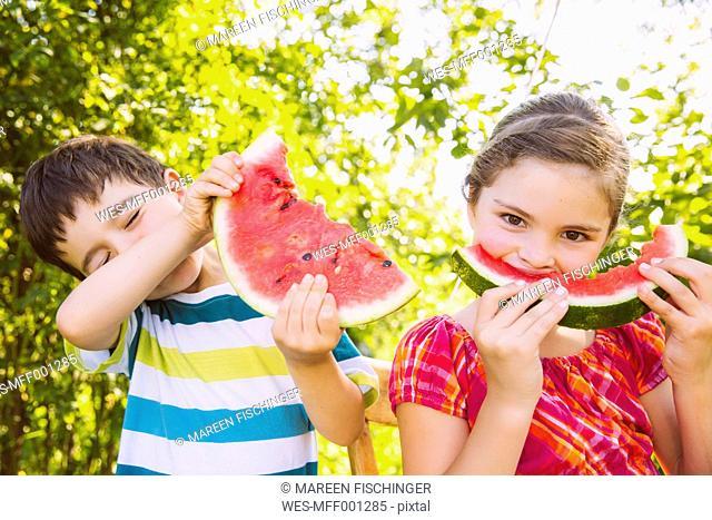 Children eating slices of watermelon in garden