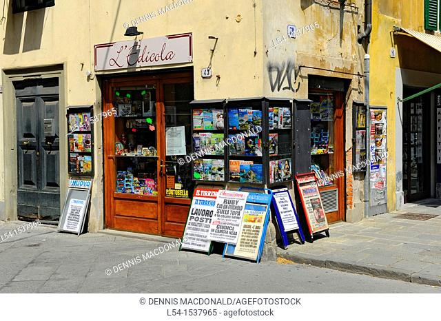 Italian Newspapers Books Display Lucca Italy Tuscany Europe Mediterranean