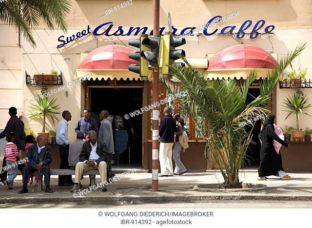 One of the many, cafés in the Capital, Harnet Avenua, Asmara, Eritrea, Horn of Africa, East Africa