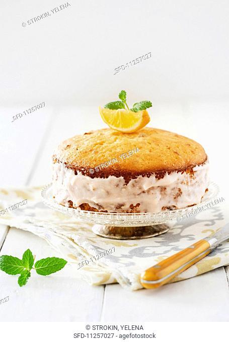 Lemon cake with fresh mint and honey