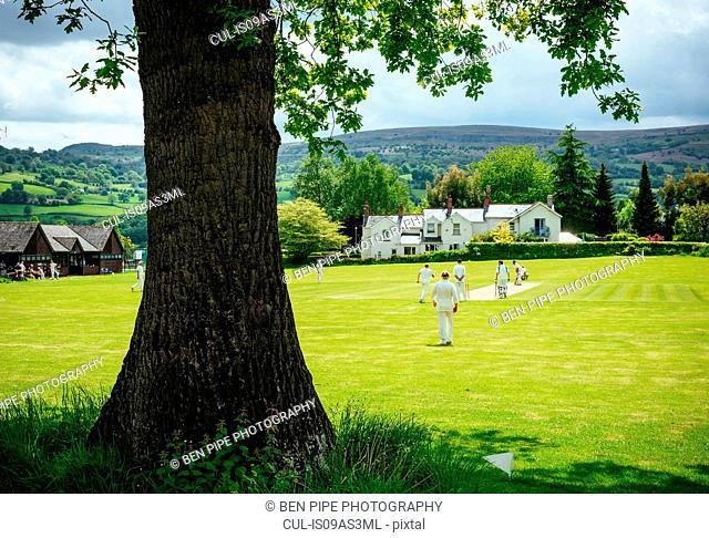 Cricket game, Crickhowell, Brecon Beacons, Powys, Wales, UK