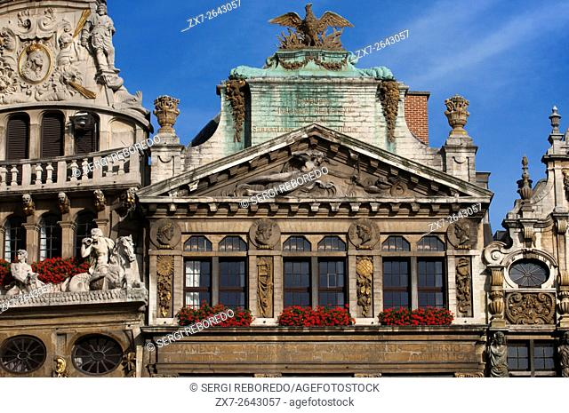 Some of the roofs of Louve, Sac and Brouette at Grand Place, Brussels, Belgium. The Louve, Sac and Brouette are a group of houses that were not rebuilt in 1695