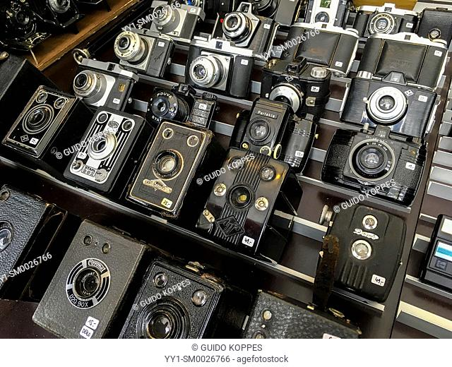 Berlin, Germany. Vintage, analog camera's in stall on the weekly vintage fleemarket of Mauer Park