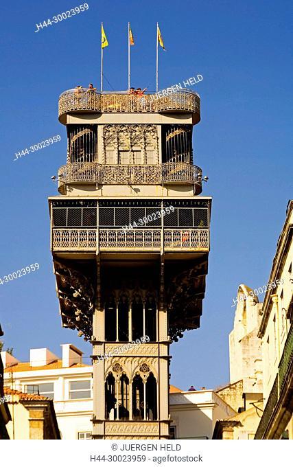 Portugal, Lisbon, Portugal, Lisbon,Baixa Chiado Elevator de Santa Justa . Built in 1902 by Raul Mesnier du Ponsard , new gotic style