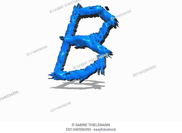Big blue letter B in 3D on white background