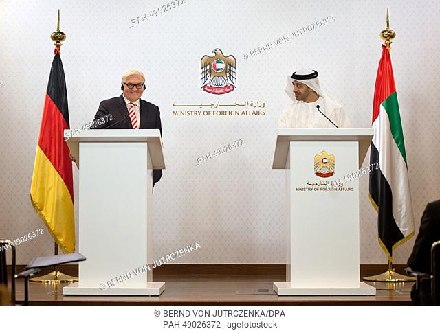 German Foreign Minister Frank-Walter Steinmeier (L) and Crown Prince Sheikh Abdullah bin Zayed Al Nahyan, UAE Minister of Foreign Affairs give a press...