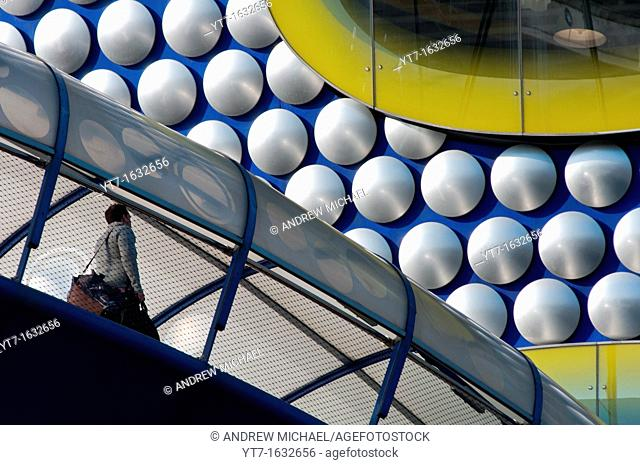 Walkway connecting Birmingham's Selfridges building with car parking  England