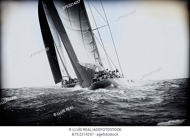 Ranger. Maxi Race Menorca. View of a sailboat race Class J, during a competition in the Mediterranean Sea, Menorca, Balearic Islands, Spain