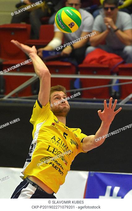 Luuc Van der Ent (Modena) in action during the 6th round group B of volleyball Champions League match Karlovarsko vs Modena in Karlovy Vary, Czech Republic