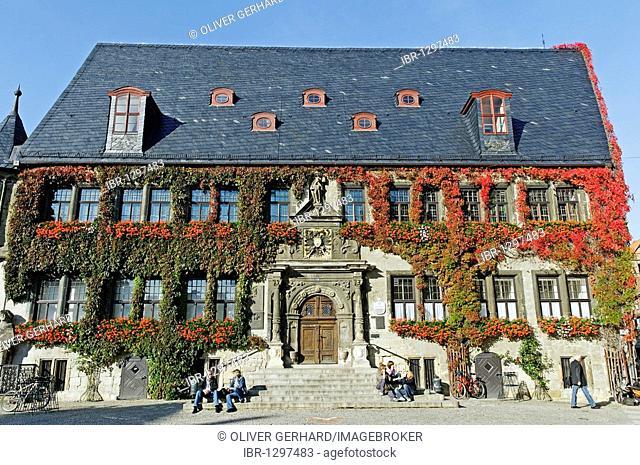Town hall of Quedlinburg city, UNESCO world heritage site, Saxony-Anhalt, Germany, Europe
