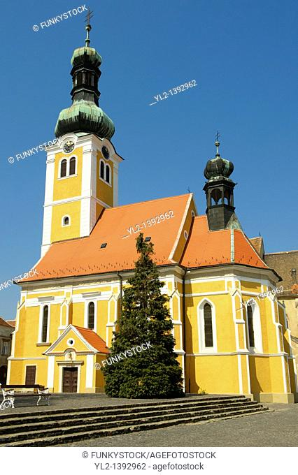 Old Town Square with St Stephan's Istvan church, Koszeg Hungary