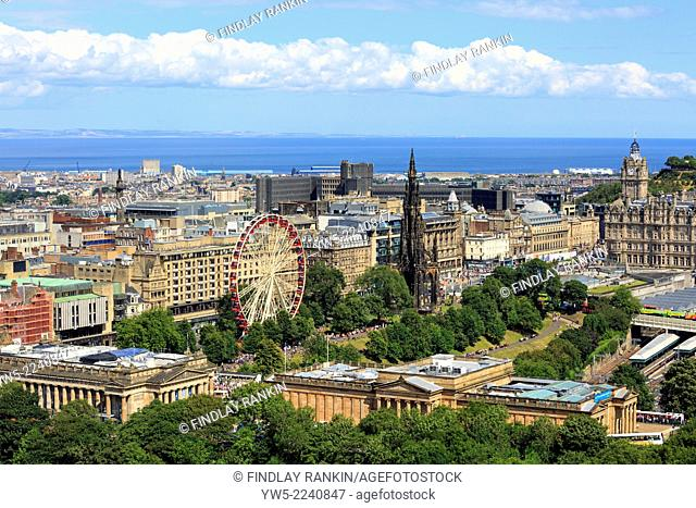 Edinburgh skyline with view over Princes Street and the Gardens , northwards towards the Firth of Forth and the county of Fife, Scotland, UK