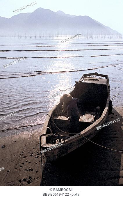 Small fishing boat on the seaside of Xiapu, Ningde City, Fujian Province, People's Republic of China