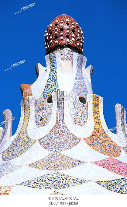 Roof of one of the pavilions at the Güell Park (Gaudí, 1900-1914). Barcelona. Spain