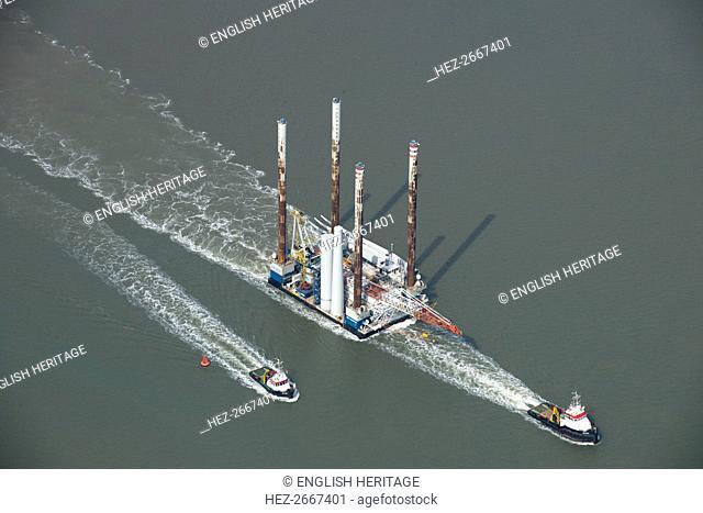 Wind farm construction vessel en route to a construction site, Harwich Harbour, Suffolk, c2010s(?). Artist: Damian Grady