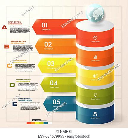 5 steps infographic background for business design