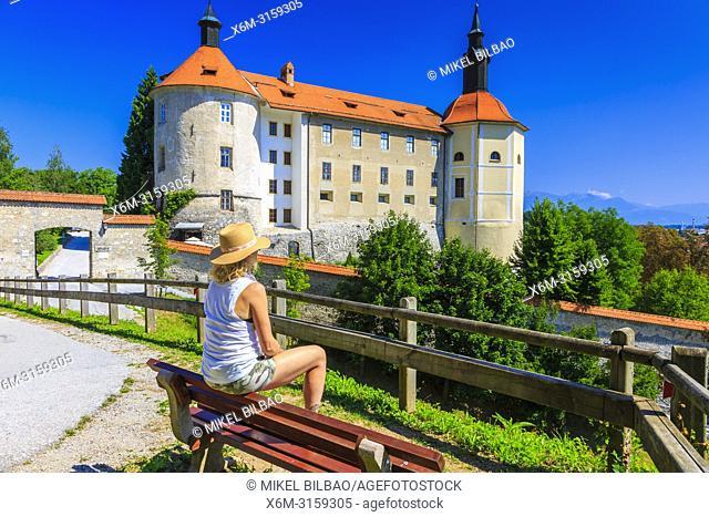 Loka Castle and tourist. Skofja Loka. Upper Carniola region. Slovenia, Europe