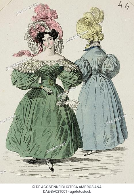 Woman wearing a green dress with puffed sleeves and pink hat adorned with lace, ribbon and feathers, and a woman wearing a blue dress with yellow hat in the...
