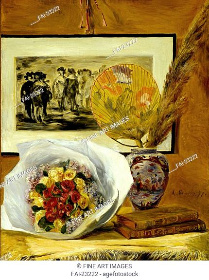 Still Life with Bouquet. Renoir, Pierre Auguste (1841-1919). Oil on canvas. Impressionism. 1871. France. Museum of Fine Arts, Houston. 73,1x58,8