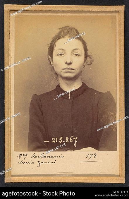 Zanini. Marie (veuve Milanaccio). 28 ans, née à Turin (Italie). Cuisinière. Vol. 18/3/94. Artist: Alphonse Bertillon (French