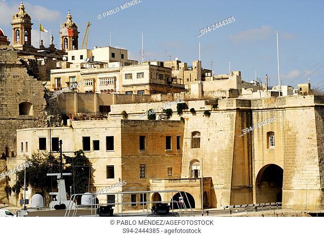 Waterfront of Senglea (L'Isla) in Malta island, Malta