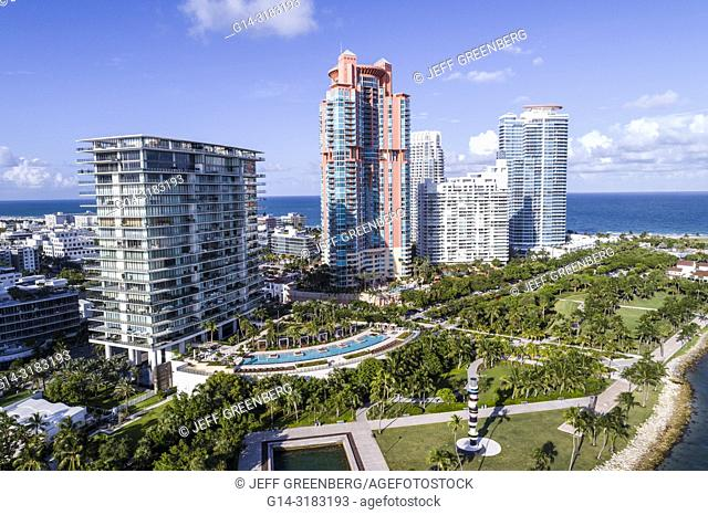 Florida, Miami Beach, South Pointe Park, aerial overhead bird's eye view above, Apogee Condominium, Portofino, Continuum South Beach