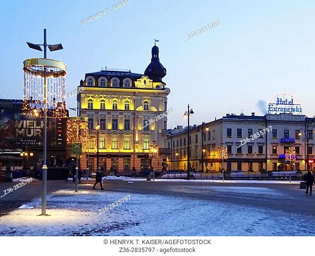 Basztowa street at Christmas time, Krakow, Poland