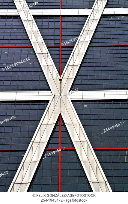 Detail of the facade Kio Towers, Madrid, Spain