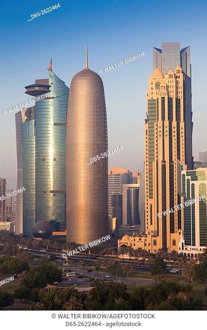 Qatar, Doha, Doha Bay, West Bay skyscrapers with World Trade Center and Burj Qatar