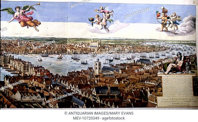 17th century London Panorama and River Thames, England