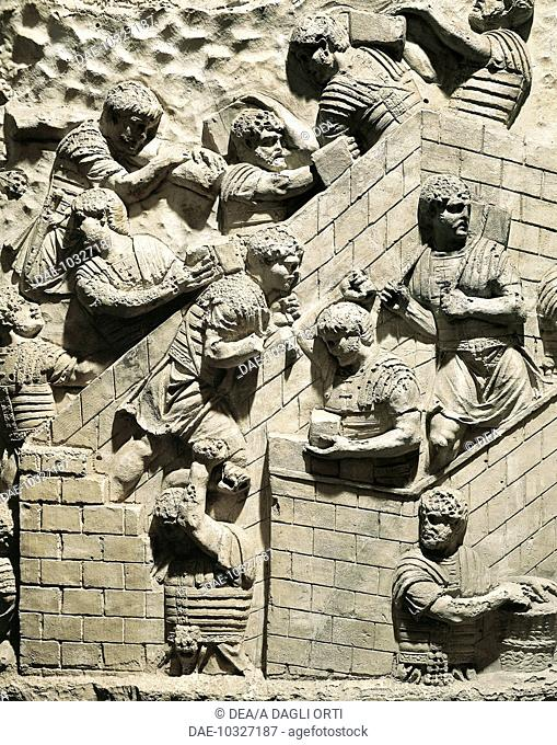 Roman civilization, 2nd century A.D. Model of Trajan's Column (Rome) Detail: Roman legionnaires setting up a fortified camp