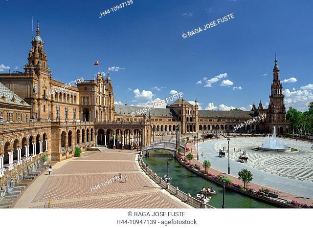 Spain, Europe, Andalucia, Region, Sevilla, City, Espana Square, architecture, canal, colourful, espana, fountain, skyline, square, touristic, tower, travel