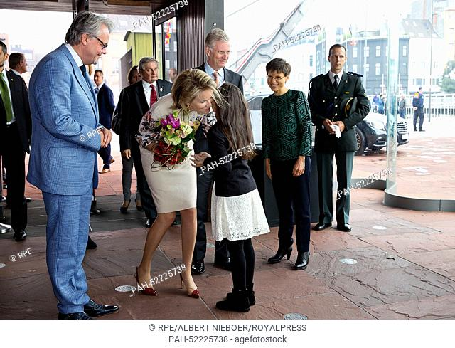 Antwerpen, 24-09-2014 HM King Filip and HM Queen Mathilde HM King Filip and HM Queen Mathilde visit the exhibition Holy Books