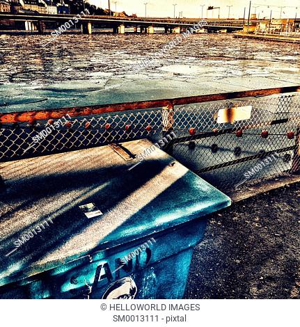 Urban waterfront with floating ice, Gamla Stan, Stockholm, Sweden, Scandinavia