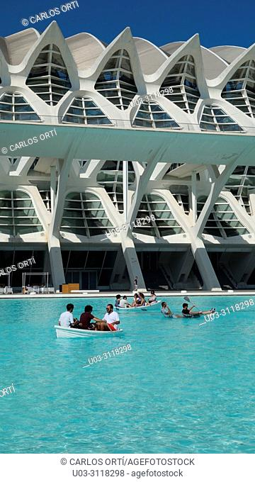 "Tourists relaxing in the complex """"City of Arts and Sciences"""" in the mediterranean city of Valencia, Spain, Europe"