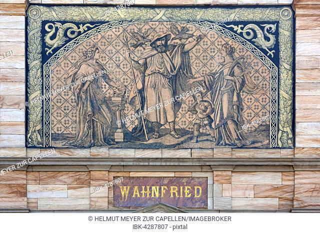 Façade detail, Villa Wahnfried, home of Richard Wagner, 1813-1883, Bayreuth, Upper Franconia, Bavaria, Germany