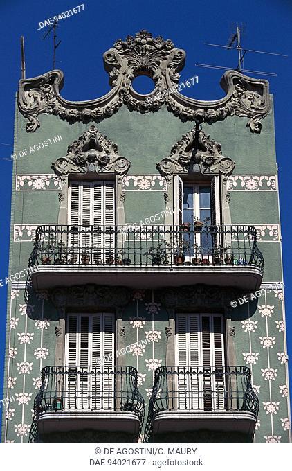 Modernist-style building, Gracia district (Paseo de Gracia), Barcelona, Catalonia, Spain