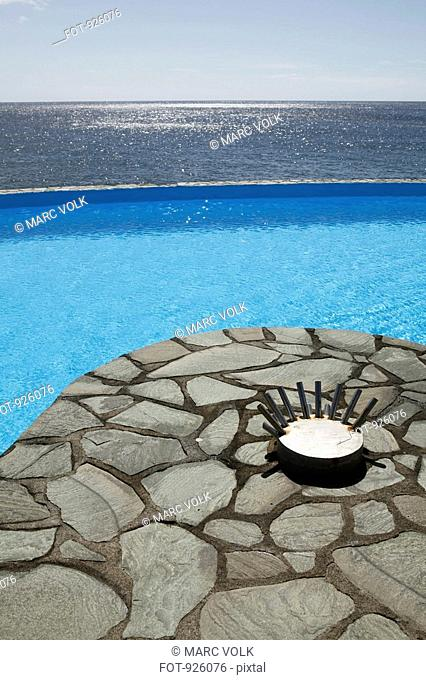 Detail of a swimming pool next to the sea