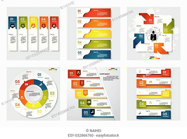 Collection of 6 design template/graphic or website layout. Vector Background. For your idea and presentation
