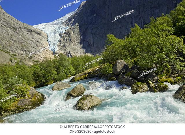 Briksdal Glacier, Briksdalsbreen, Jostedalsbreen Glacier, Jostedalsbreen National Park, Norway, Scandinavia, Europe