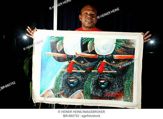 Painting of the artist Alexander Mebu, Port Moresby, Papua New Guinea, Melanesia