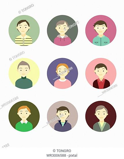 Icon set of various people's portraits