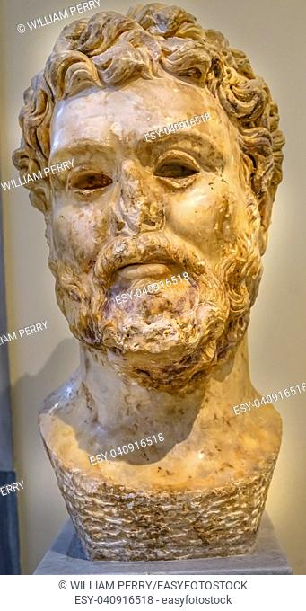 Emperor Septimius Severus Statue National Archaeological Museum Athens Greece. From 193-211 AD