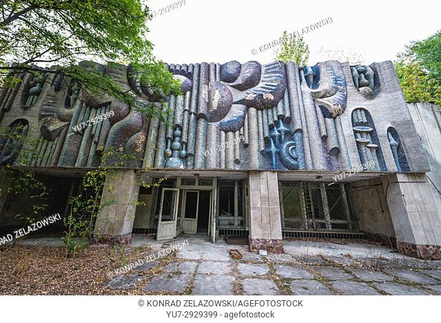 Music school in Pripyat ghost city of Chernobyl Nuclear Power Plant Zone of Alienation around nuclear reactor disaster in Ukraine