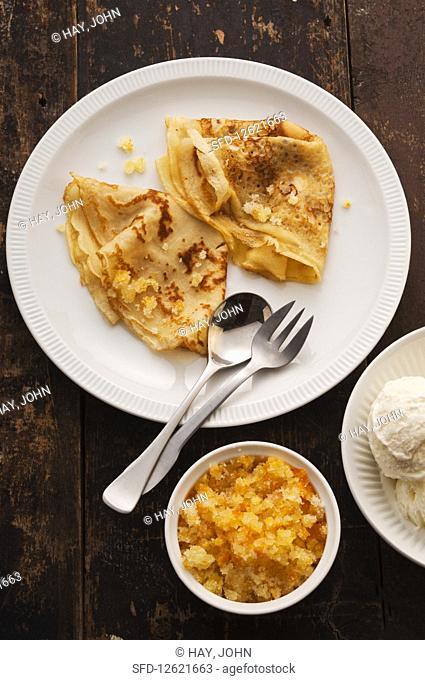 Crepes with lemon and sugar
