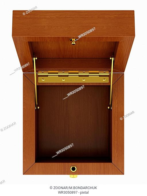 top view of empty wooden box isolated on white background