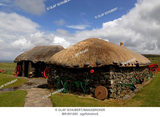 Museum of Island Life showing old turf houses on the Trooternish Peninsula, Isle of Skye, Scotland, United Kingdom, Europe